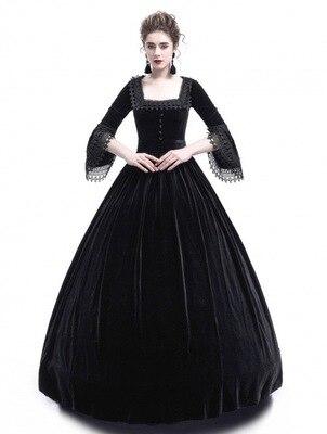 Medieval Princess Dress Women 2018 Vintage Plus Size Palace Princess Lace Fancy Long Dress Party Christmas Halloween Costume