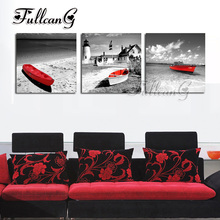 FULLCANG 3 pieces diamond painting beach red boat & lighthouse diy triptych mosaic cross stitch 5d embroidery full drill G1276