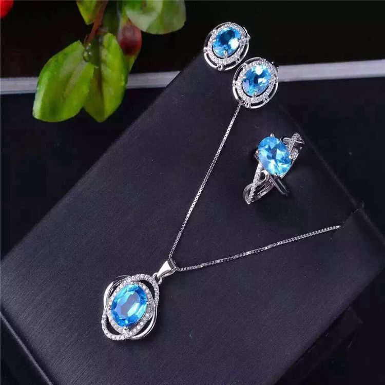 S925 Blue Topaz Sterling silver jewelry inlaid jewelry set natural Ring + Pendant Earrings Set Natural Gemstone s925 sterling silver inlaid natural stone thai silver beautiful burning blue brooch female pendant new products