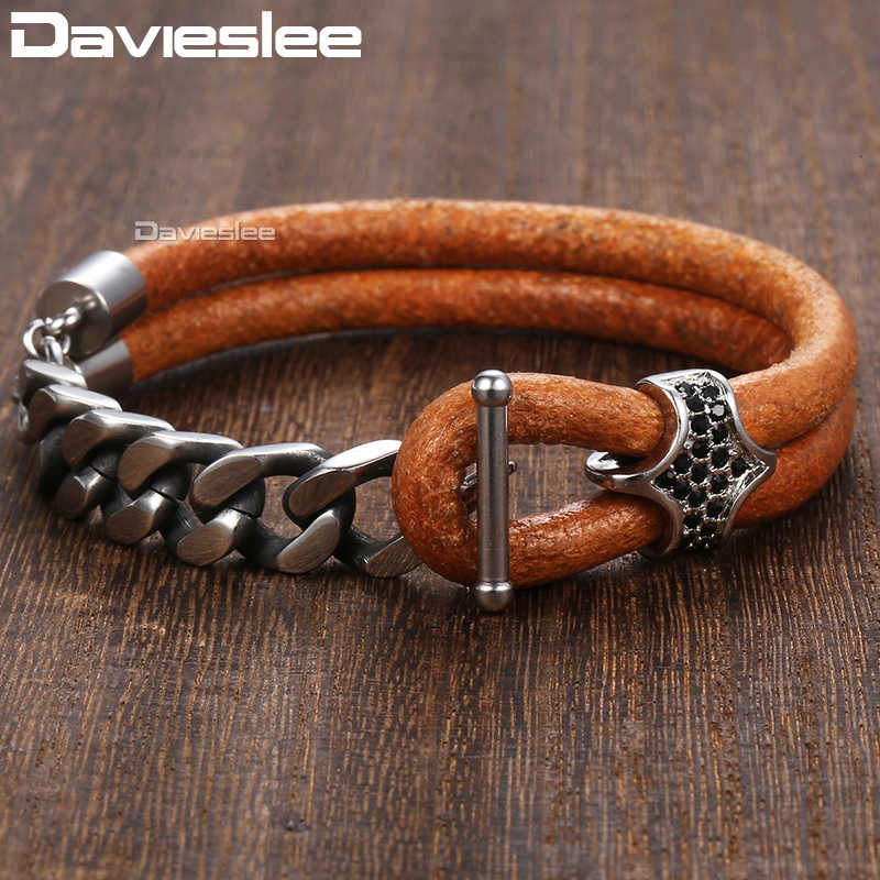 Davieslee Bracelet for Men Black Rhinestones Charm Brown Man-made Leather Stainless Steel Curb Cuban Chain Mens Bracelets DDLB65