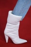 Зимние сапоги, белые теплые короткие сапоги на высоком каблуке, зимние сапоги для русской зимы