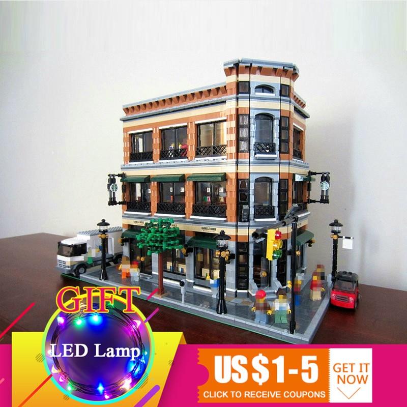 15017 4616Pcs Starbucks Bookstore Cafe set Model Building Blocks Kits Bricks Compatible for Children Toys