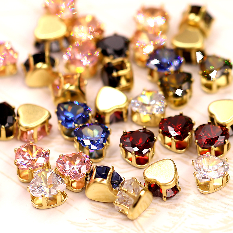 8mm 20pcs Heart shape Multicolour Top quality Natural zircon,Super flash sew on stones with ,diy/Jewellery accessories