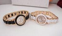 высокое качество белый и черный цвета rosy золота браслет часы женские мод платье кварцевые наручные часы relogio женщина для tw016