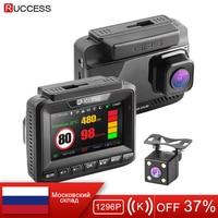 Ruccess Radar Detector GPS 3 in 1 Car DVR FHD 1296P 1080P Dual Lens Dash Cam Speed Cam Anti Radar Video Recorder Car Camera