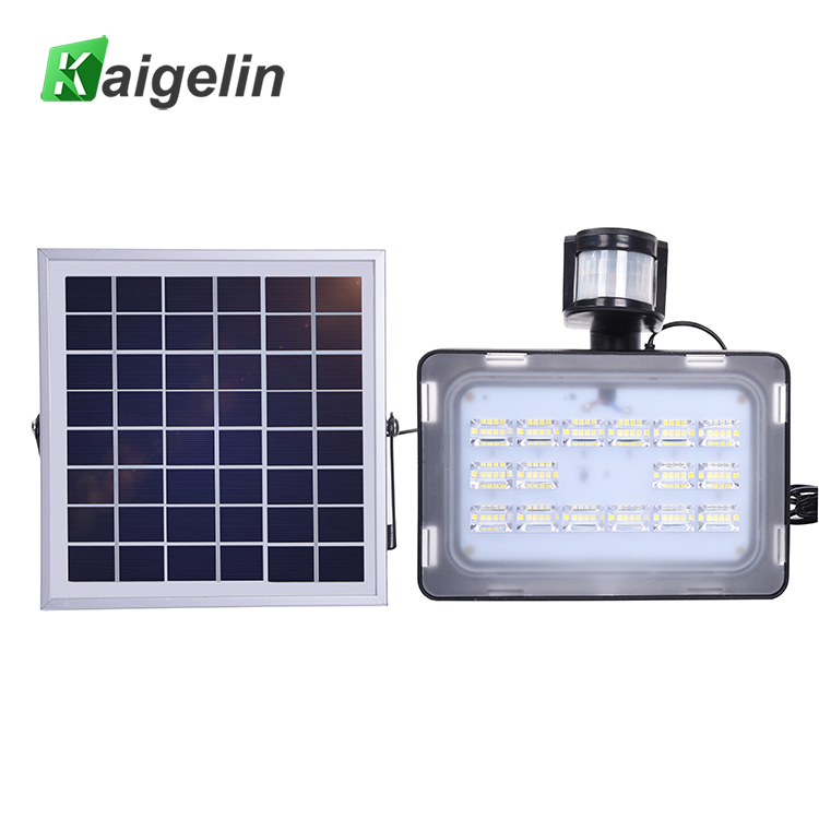 Kaigelin 30W Solar Flood Light With PIR Motion Sensor LED Lamp 5730 SMD DC12V 24V 6000K-6500K Outdoor Lighting Floodlight