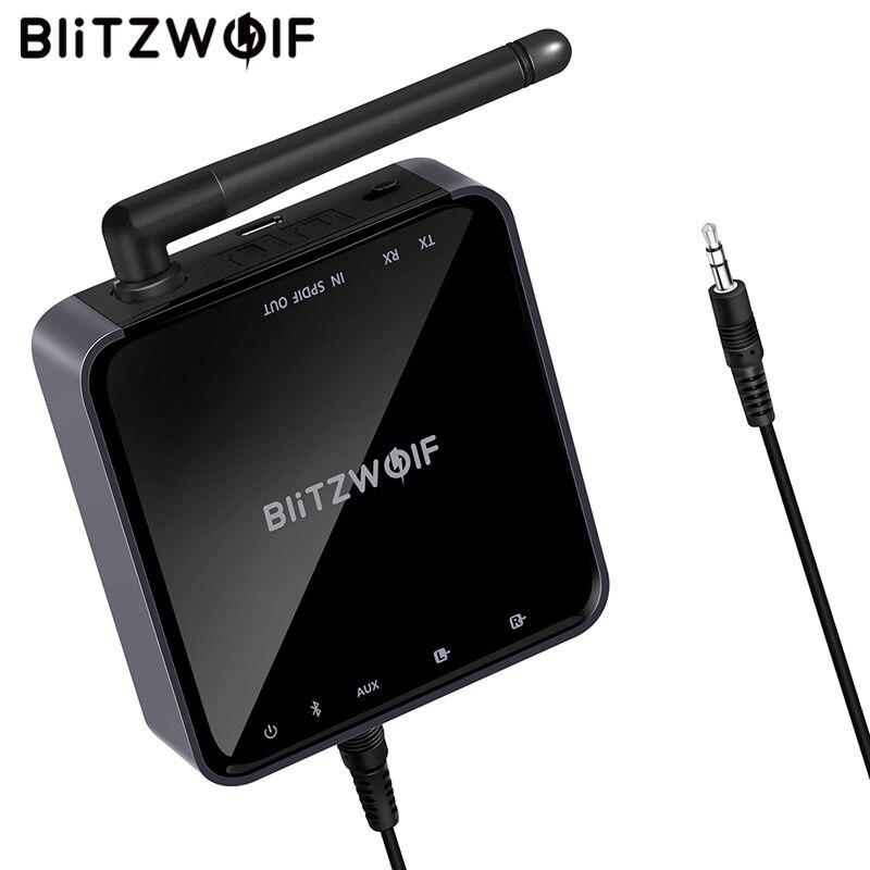 BlitzWolf BW-BR4 V5.0 sans fil bluetooth 2 en 1 récepteur émetteur aptX HD musique Audio adaptateur 3.5mm Aux pour haut-parleur TV MP3