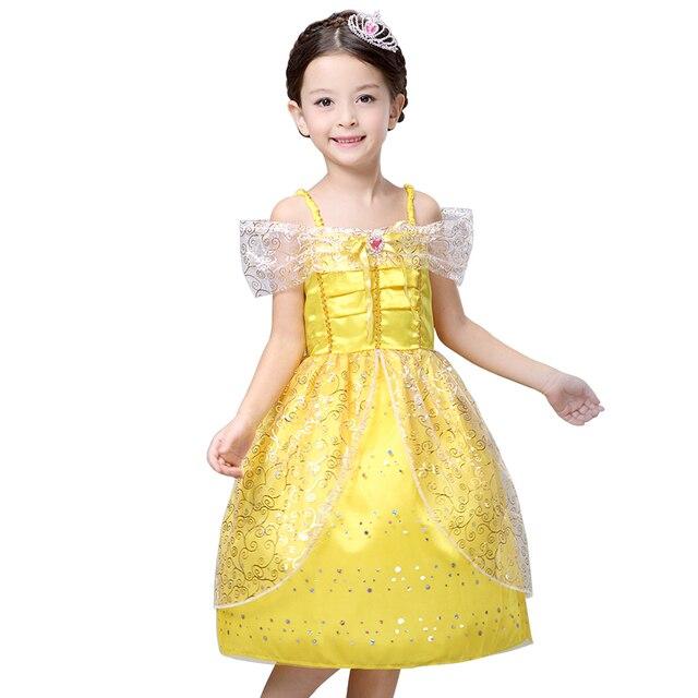 Новый 2016 Дети Девушка Красавица и чудовище косплей карнавальный костюм дети belle платье принцессы на Рождество Хэллоуин, фантазия infantil