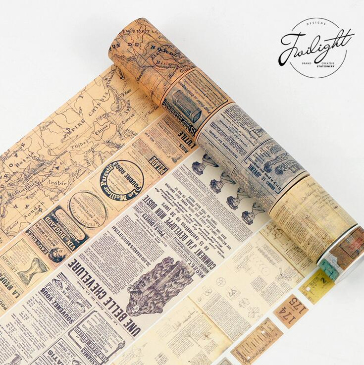Creative Newspaper Map Gothic Decorative Washi Tape DIY Scrapbooking Masking Tape School Office Supply colorful gilding hot silver alice totoro decorative washi tape diy scrapbooking masking craft tape school office supply
