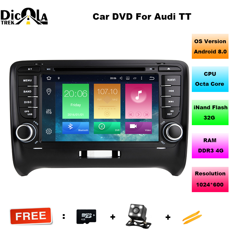 FOR AUDI TT 2006 2014 Android 8 0 font b Car b font DVD player Octa