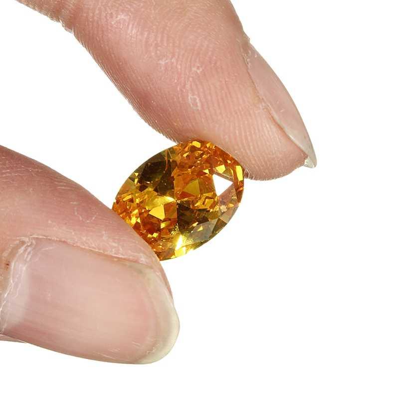 KiWarm جديد شيك 10x14 مللي متر غير ساخنة جوهرة الياقوت الأصفر البيضاوي الشكل AAA الطبيعية فضفاض الأحجار الكريمة الماس مجوهرات ذاتية الصنع الحرف الزخرفية