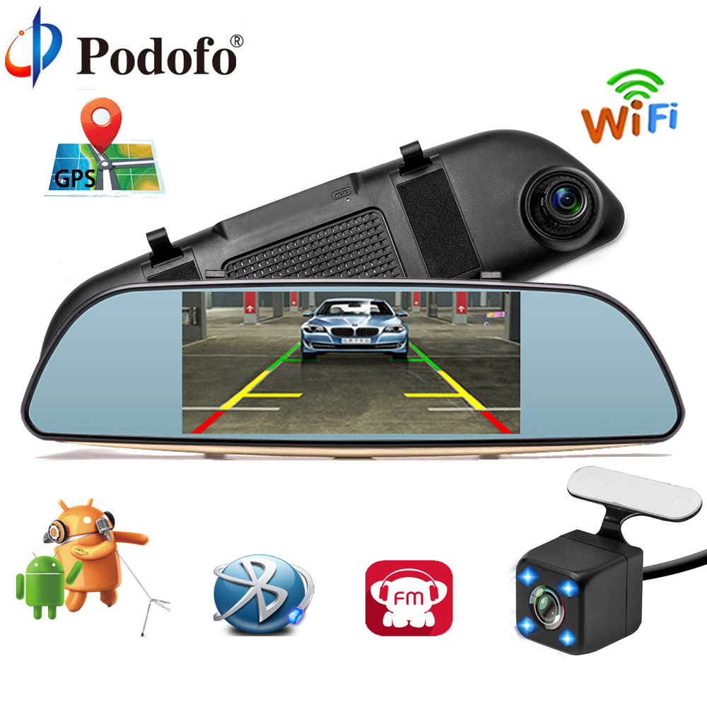 Podofo Full HD 1080P Car DVR 3G Touch Mirror Camera 7 Dash Cam Video Recorder Camera Android 5.0 GPS Rearview Mirror Registrar gps navigator mirror car video recorder with bluetooth full hd resolution wifi camera automobile dvr rearview mirror dash cam