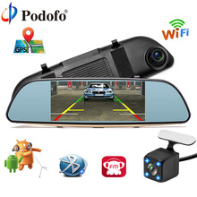 Podofo Full HD 1080P Car DVR 3G Touch Mirror Camera 7″ Dash Cam Video Recorder Camera Android 5.0 GPS Rearview Mirror Registrar