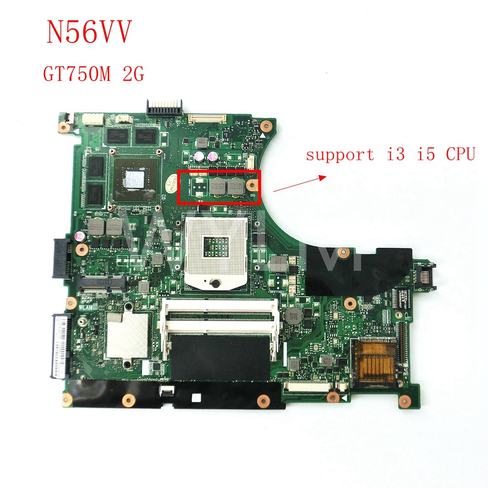 free shipping N56VV GT750M 2GB mainboard For ASUS N56V N56VZ N56VB N56VV N56VM Laptop motherboard MAIN BOARD Tested Working free shipping new original n56v n56vm motherboard main board 60 n9jmb1300 gt630m n13p gl a1 100% tested working