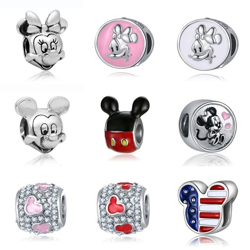 DIY Mickey Mine Beads Jewelry Bijoux Bracciale Bisuteria French Bead Silver Perfumes Mujer Originales Bracelet Charms