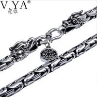 100% чистого серебра цепи ожерелье S925 серебряное ожерелье с Голова Дракона застежка тайский серебряное ожерелье Бесплатная доставка HYN03