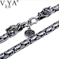 100% Pure Silver chain necklace S925 Sterling Silver necklace with dragon head clasp thai silver necklace free shipping HYN03