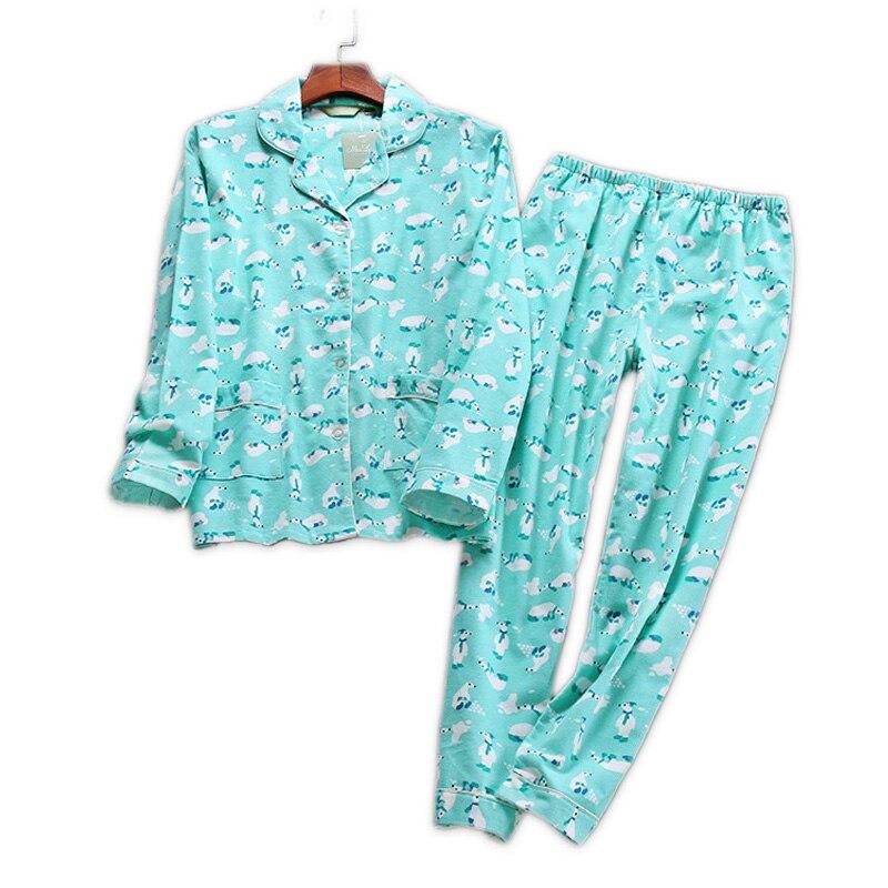 Corea del Simpatico cartone animato 100% pigiama di cotone donne pigiami set di autunno 100% cotone Spazzolato caldo di inverno delle donne degli indumenti da notte pigiama mujer