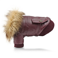 Winter Leather Dog Clothes Warm Fur Collar Pet Dogs Jackets Coats For Puppy Windproof Dogs Costume
