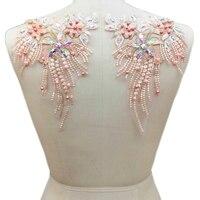 1 пара бисер, стразы Вышитый цветочный розовый кружевной воротник обшивка плеча пошив одежды Свадебное кружево аппликация край-B