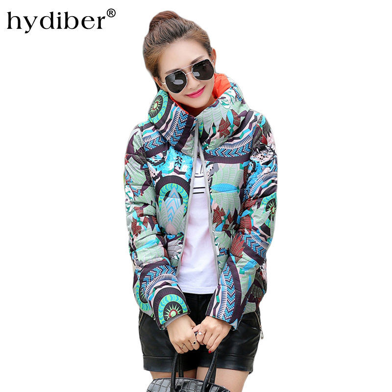 Hydiber Winter new 2017 ladies printing long-sleeved cotton Clothing Europe and the United States wind fashion short jacket princess girls long sleeved children s evening autumn new europe and the united states dress kids clothing red silk