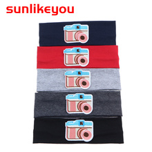 Sunlikeyou Baby Turban Headband Cartoon Embroidery Camera Cotton Elastic Newborn Hair Band For Girls Accessories