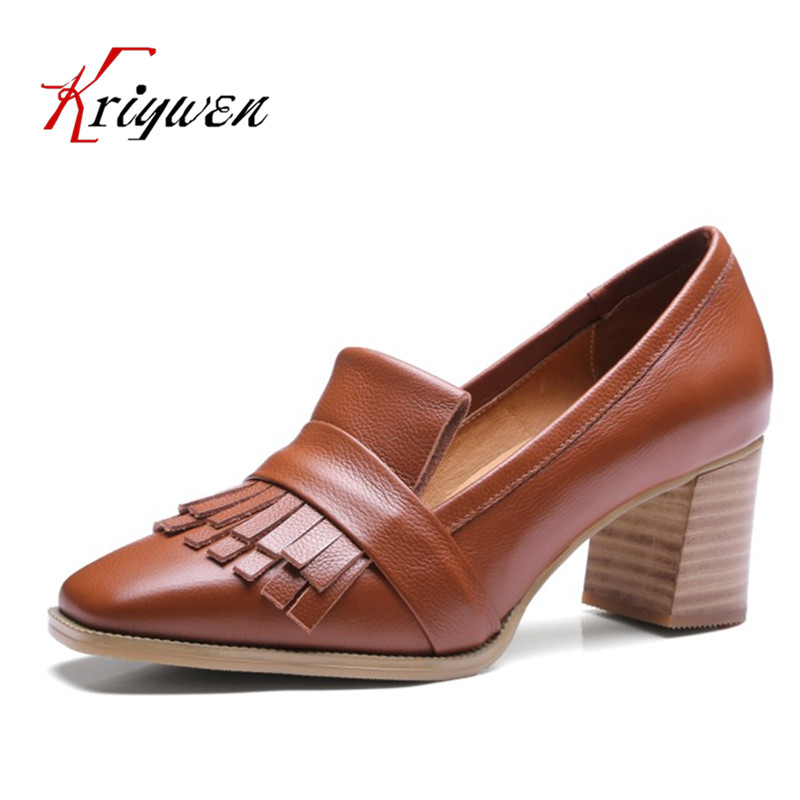 ФОТО 2017 Spring tassel retro style pumps high heeled shoes office career sexy lady pumps for female genuine leather party shoes