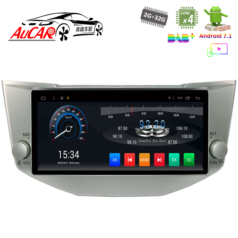 AuCAR 10.2 Android Autoradio GPS Navi Pour Toyota Harrier 2003-2012 Pour Lexus RX330 300 350 2003- 2009 Navigation De Voiture Stéréo AUX
