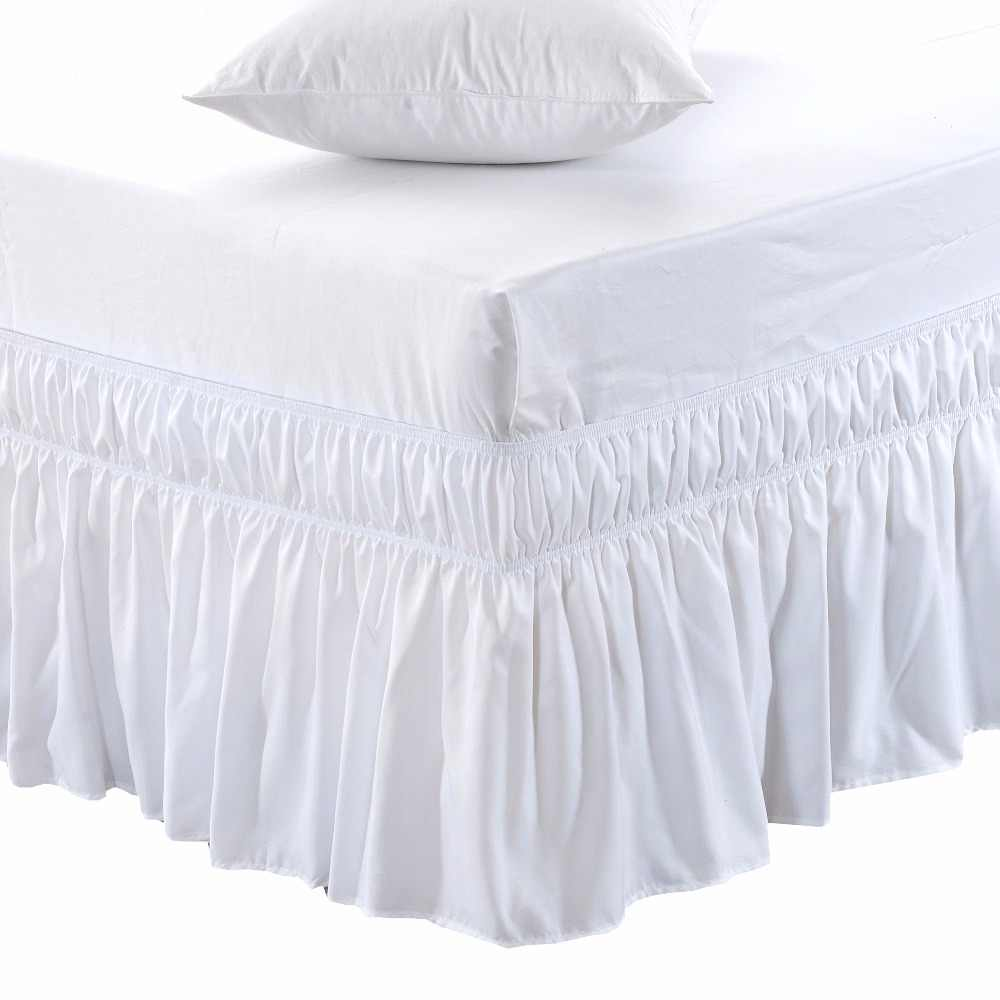 Easy On//Easy Off Classic Tailored Look Easy Fit Bed Skirts-Full-XL Size 12 Drop White Waletone Linen Wrap Around Bed Skirt Three Sided Fabric Elastic Around