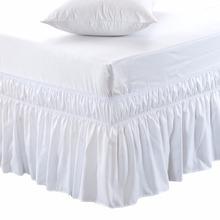 Owiń falbanka na ramę łóżka elastyczne falbany na łóżko łatwe dopasowanie łatwe zdejmowanie odporne na blaknięcie Solid Color falbanka na ramę łóżka s Hotel tkanina wysokiej jakości Spread tanie tanio Gładkie barwione Domu 0 4-0 5kg 300tc Stałe 100 poliester