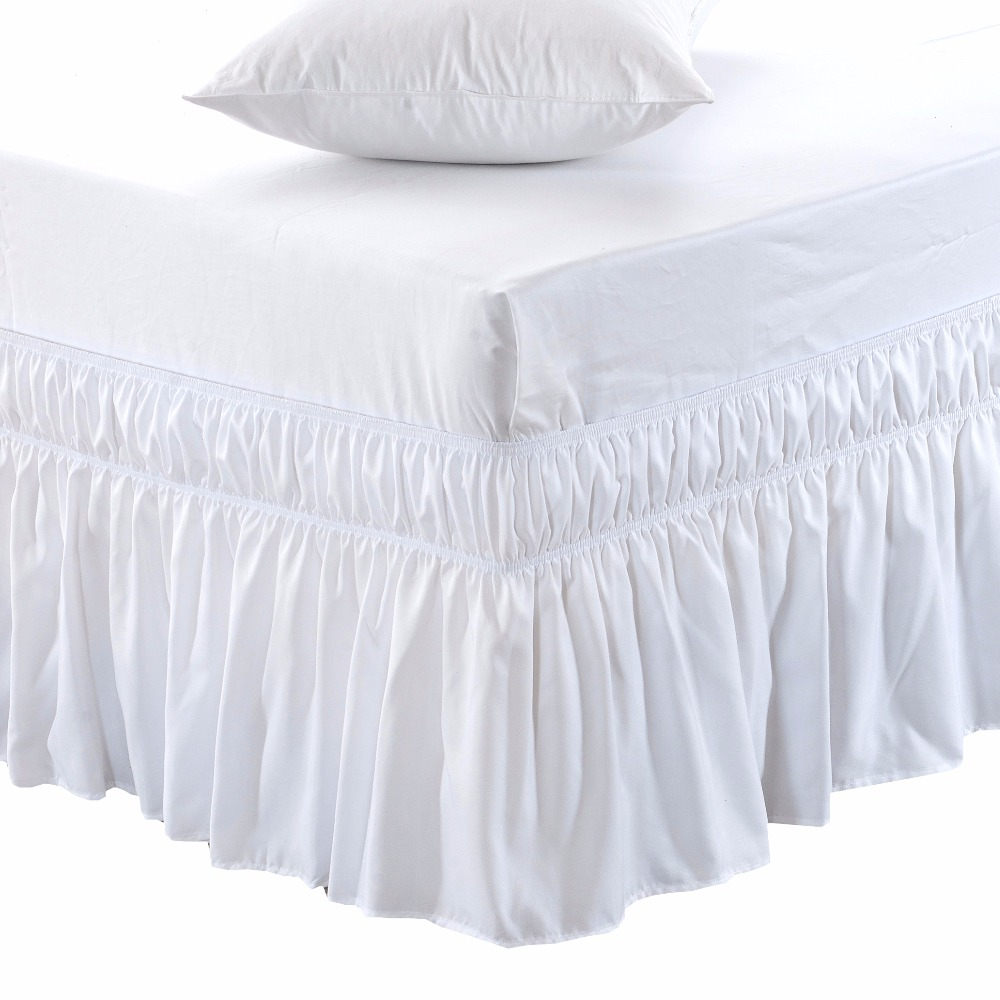 Wrap Around Bed Skirt Elastic Bed Ruffles Easy Fit Easy Off Fade