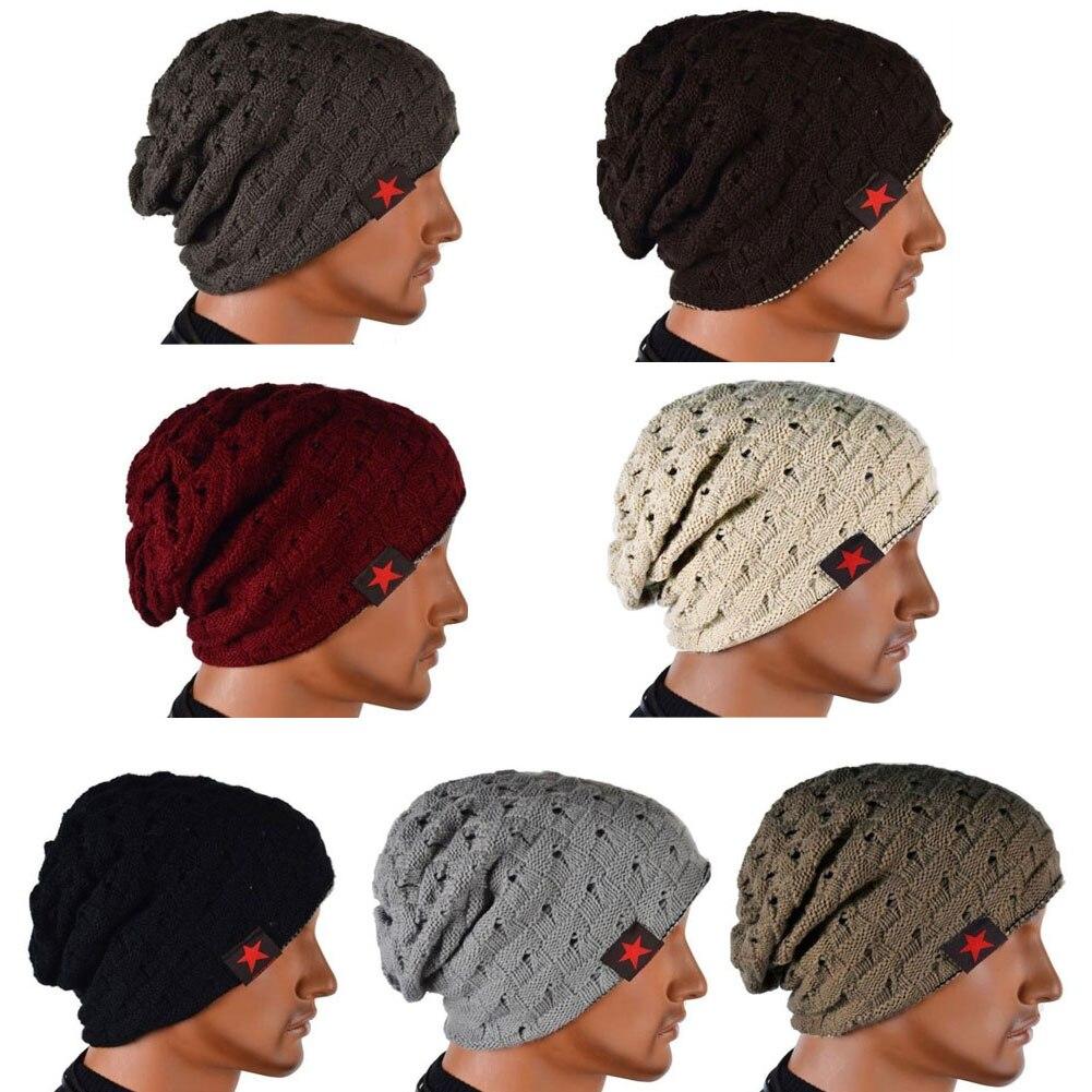 2016 New Fashion Men Knit Beanie Reversible Baggy Cap Skull Chunky Winter Hat -MX8 hot winter beanie knit crochet ski hat plicate baggy oversized slouch unisex cap