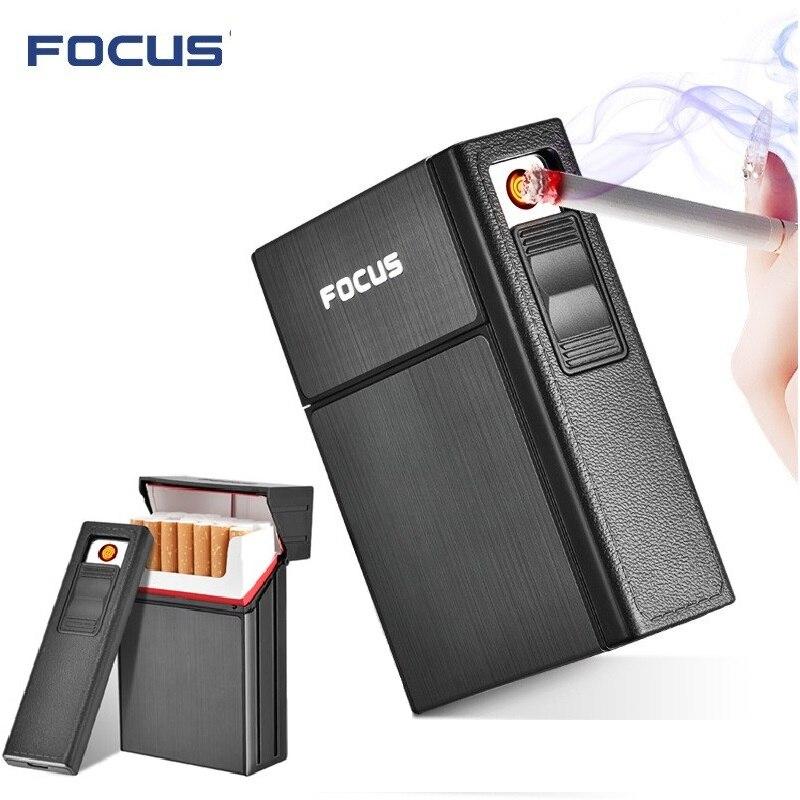 A ESTRENAR Ciagrette cuadro titular con extraíble USB mechero electrónico sin llama a prueba de viento cigarrillo de tabaco encendedor