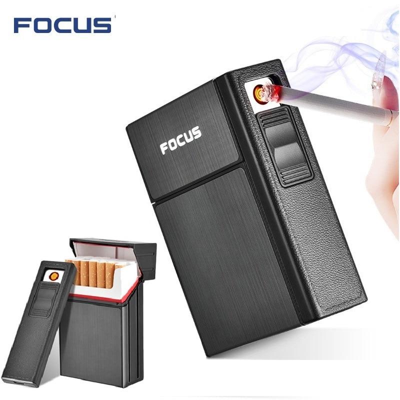 Marke Neue Ciagrette Halter Box mit Abnehmbare USB Elektronische Leichter Flammenlose Winddichte Tabak Zigarette Fall Leichter