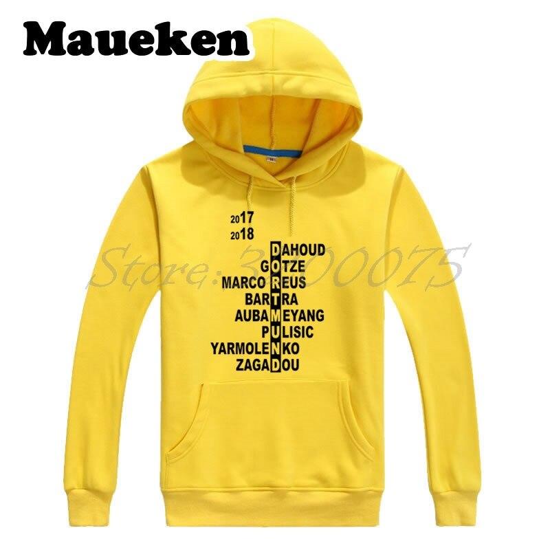 Men 17/2018 Borussia Hoodies Sweatshirts Dortmund Squad Crossword Reus Aubameyang Pulisic Bartra Yarmolenko Gotze Thick Winter