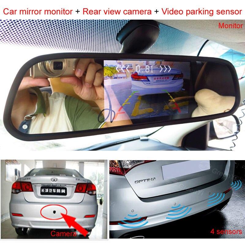 Assistenza Al Parcheggio auto 3IN1 Rear View Mirror Monitor + Backup Reverse Camera + Video Radar Detector Sensore di Allarme Acustico - 2