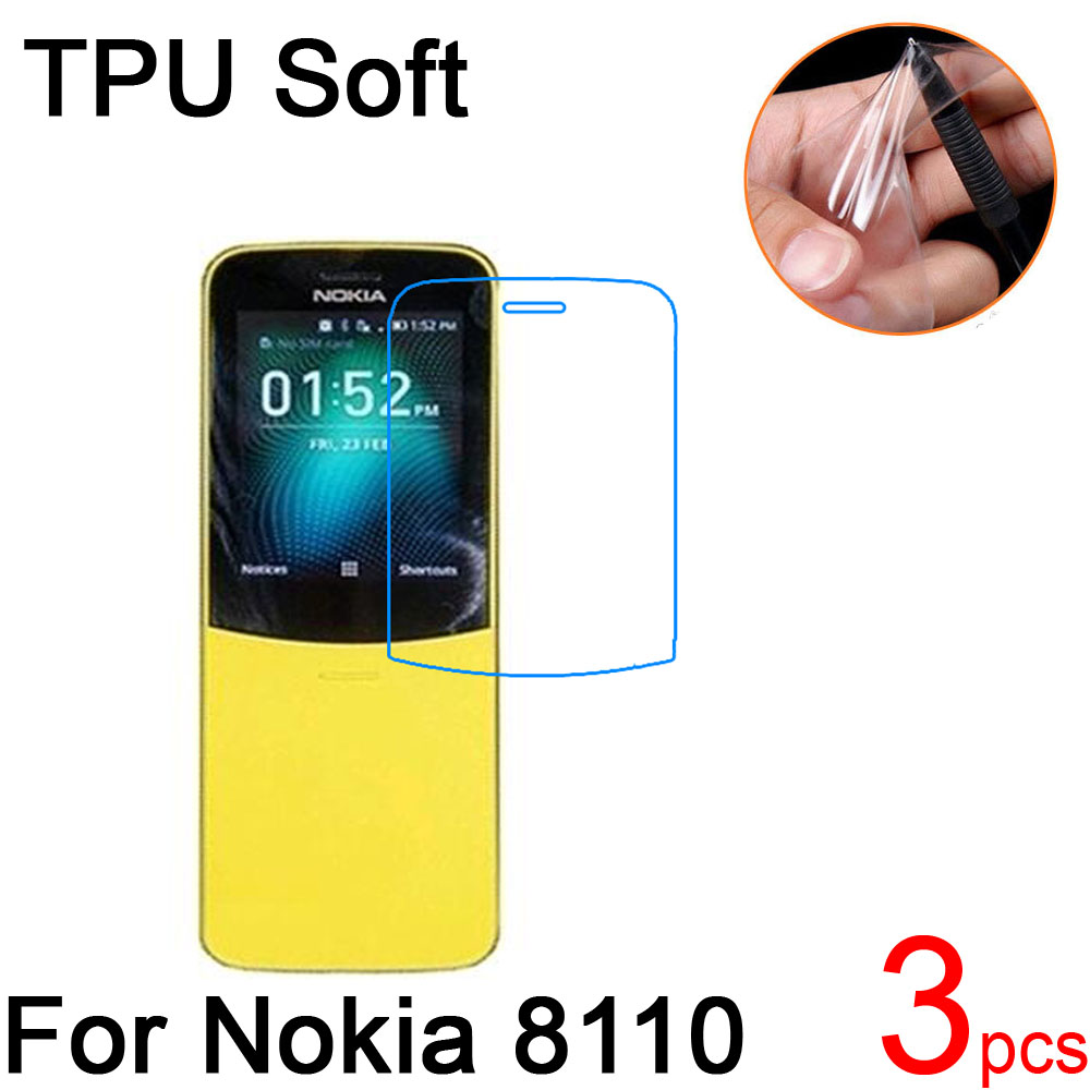 3pcs Ultra Clear TPU Soft For Nokia 8110 4G LTE 2018 Screen Protector cover For Nokia 8110 4G LTE 2018 Protective Film+cloth