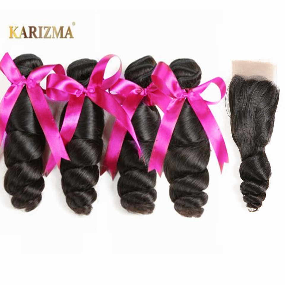 Karizma peruvian 4 bundles with closure loose wave free part 100% human hair bundle with lace closure non remy hair extension