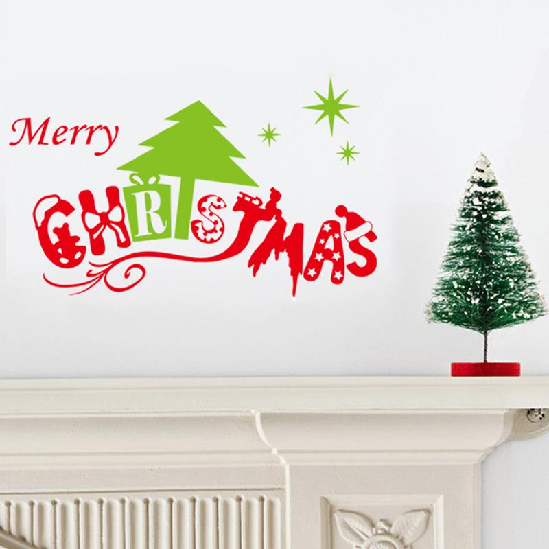 merry christmas tree wall stickers christian decorations living room bedroom vinyl xmas home decals festival mural art posters in wall stickers from home - Christian Christmas Decorations
