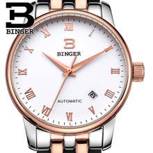 Switzerland watches men luxury brand18K gold Wristwatches BINGER business Mechanical Wristwatches full stainless steel B5005A-7