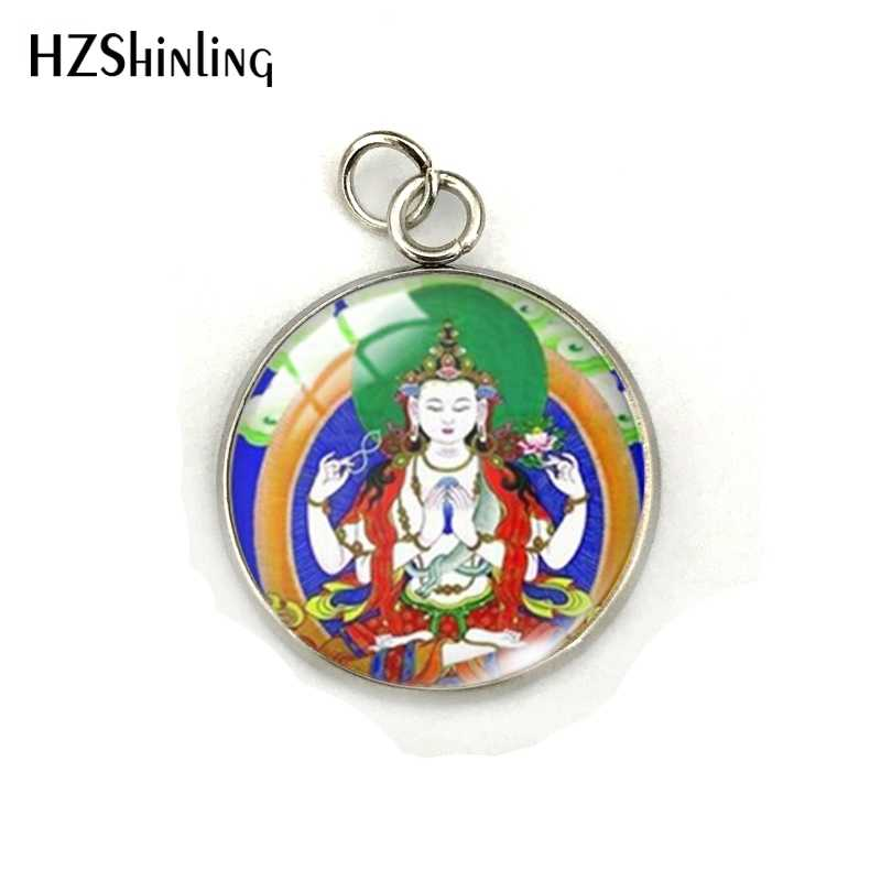 Vintage Buddha Statue Buddhist India Symbolism Glass Dome Stainless Steel Pendant Hindu Buddha Jewelry Charms Accessory