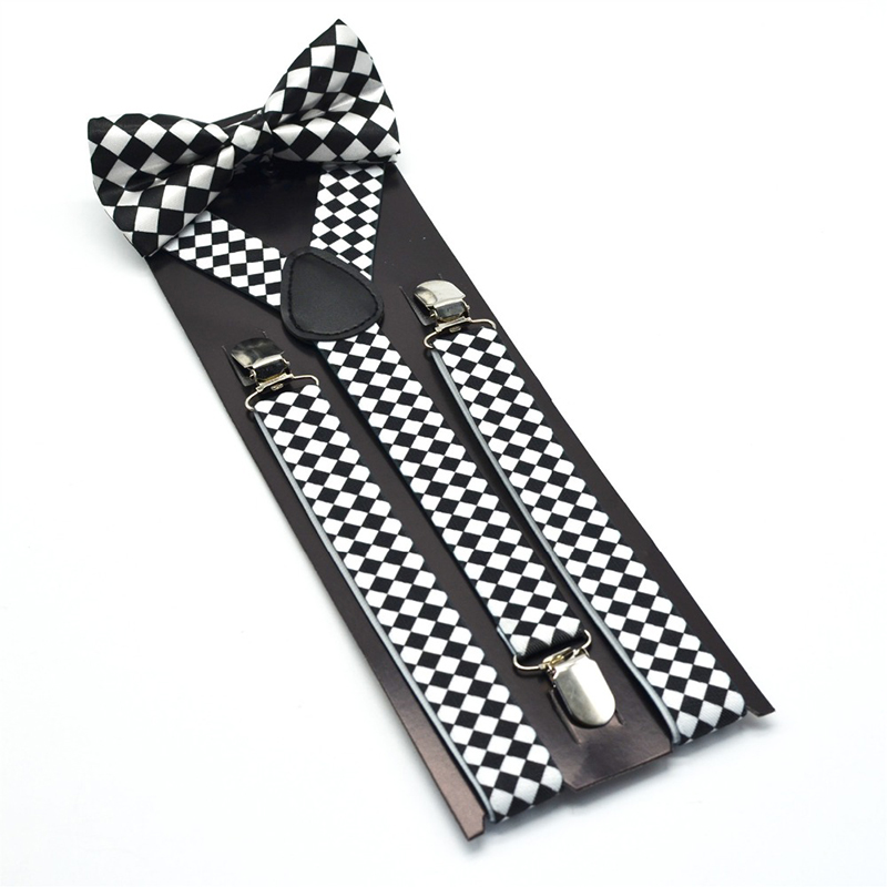Unisex Adult Bow Tie Set For Women Men Polyester PU Metal Material 3 Clips On Suspenders Y-Shape
