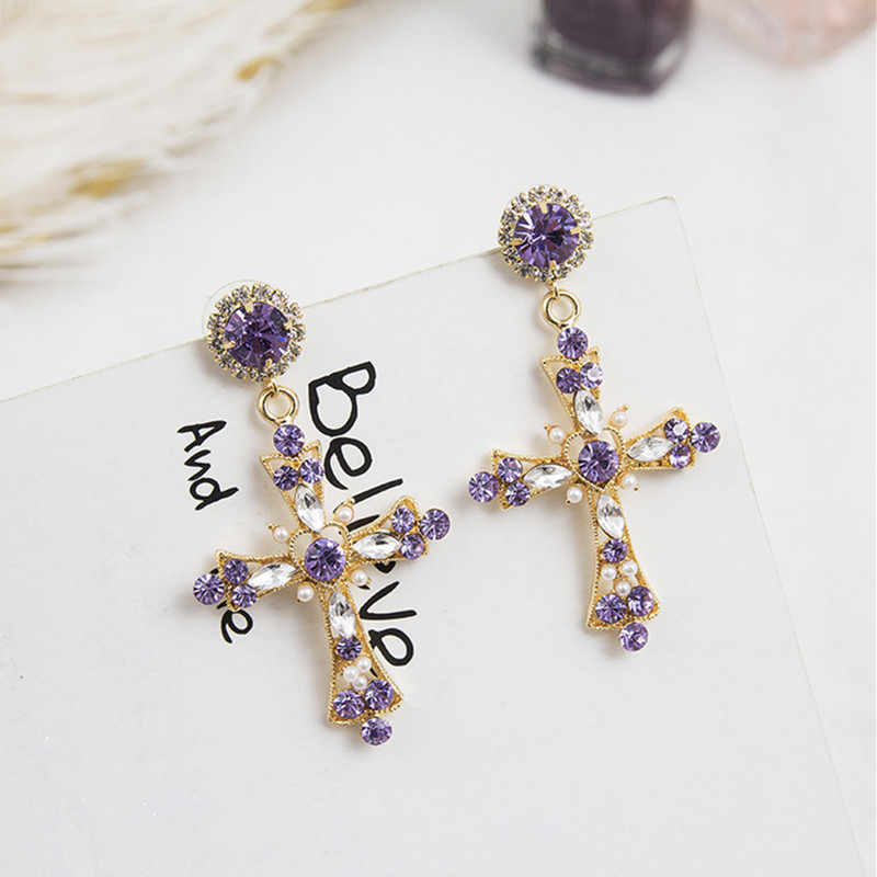 New Fashion Hollow Shiny Crystal Rhinestone Cross Shape Elegant Korean Women Drop Earrings Pendientes Party Jewelry 6B1026