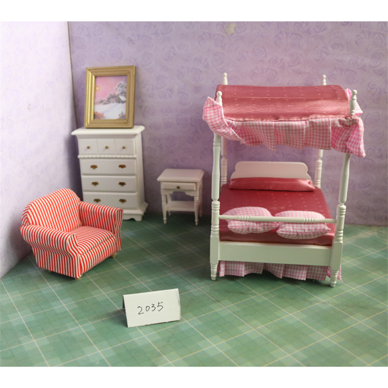 Kids Bedroom Furniture Kids Wooden Toys Online: Doub K 1:12 Furniture Bedroom Bed Sofa Set Pretend Play