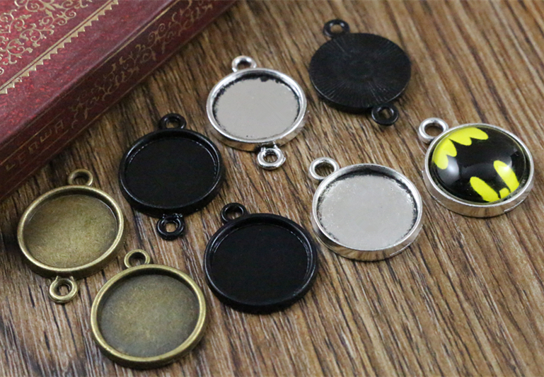 30pcs 14mm Inner Size Antique Bronze And Silver And Black Plated 6 Simple Style Cabochon Base Cameo Setting Charms Pendant