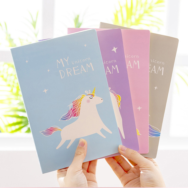 12pc/lot  Dream Unicorn Student notebook / car line A5 diary writing pad/fashion stitching book / notebook/Office supplier
