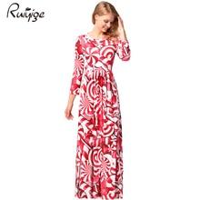 Фотография Ruiyige 2017 Autumn Women Fashion Floral Print Half Sleeve O-Neck Tunic Pockets Slim Flare Long Maxi Dresses Christmas Vestidos