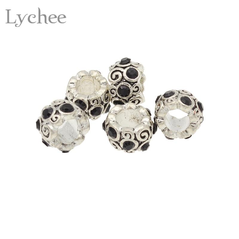 Lychee 5pcs/lot Vintage Metal Multi Color Rhinestone Hair Braid Dread Dreadlock Beads Cuffs Clips Headwear Accessories