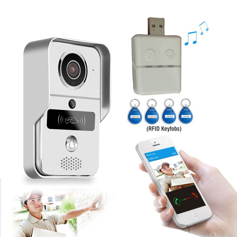 Wireless SD Card Video Recording Video Door Phone+RFID Keyfob Indoor Bell Wifi IP Door Bell POE Camera For ONVIF Connect NVR 16GWireless SD Card Video Recording Video Door Phone+RFID Keyfob Indoor Bell Wifi IP Door Bell POE Camera For ONVIF Connect NVR 16G