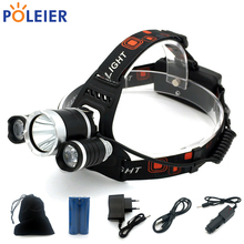 8000 Lumens LED Headlight 3*T6 USB Headlamp Frontal Light Torch Cree chip T6 Waterproof Flashlights Rechargeable 18650 Battery